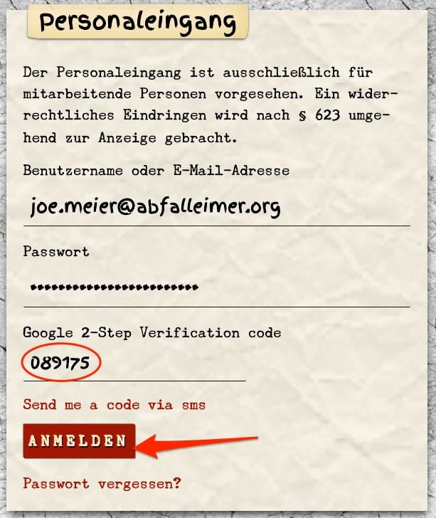 Anleitung 2FA: Code Authentification